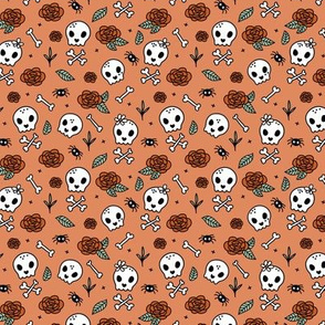 Little roses and bones skulls for girls halloween day of the dead skeleton garden orange red mint SMALL