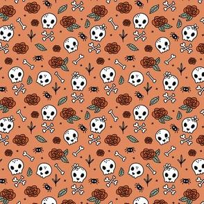 Little roses and bones skulls for girls halloween day of the dead skeleton garden orange red mint SMALL