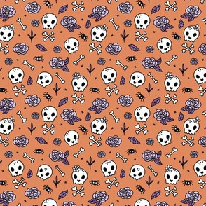 Little roses and bones skulls for girls halloween day of the dead skeleton garden orange lilac purple SMALL