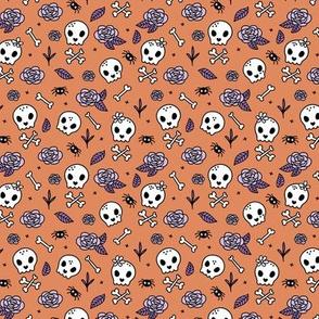 Little roses and bones skulls for girls halloween day of the dead skeleton garden orange lilac purple SMALL