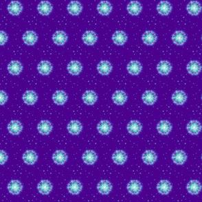 Fuzzy blue supernova on dark purple