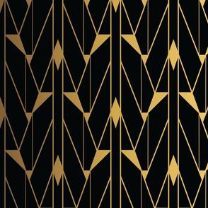 Faux Foil Gold and Black Retro Vintage Art Deco Geometric Open Triangle Pattern