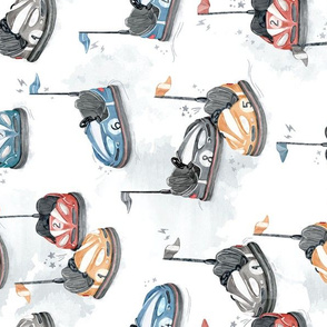 Electric Bumping Cars - ROTATED - watercolor boys pattern