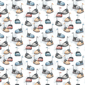 Electric Bumping Cars - SMALL - watercolor boys pattern