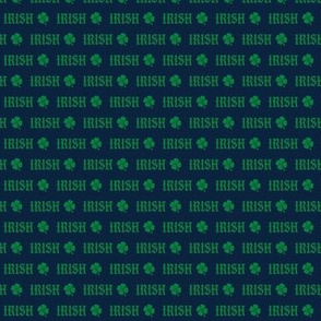 MINI irish -  navy and green shamrock fabric