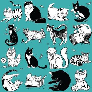 Cats of Insider Art - Teal