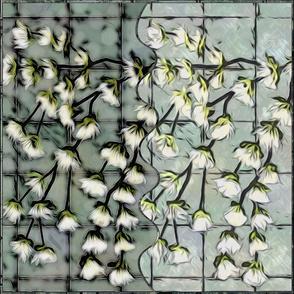 "Half & Half Cream Blooms 21"" Panels"