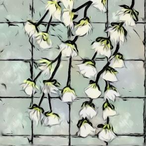 Blooming Tree Limb (glass window)