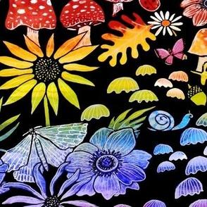 rainbow mushrooms and fall forest floor