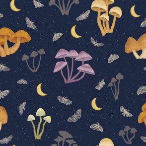 Mushrooms in the Moonlight with Moths - medium scale