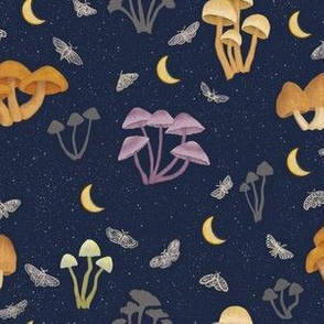 Mushrooms in the Moonlight with Moths - small scale