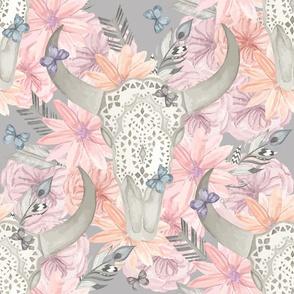 BOHO Lace Floral Skull _ Large