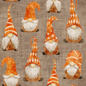 Tossed Watercolor Fall Gnomes Version 2 on burlap - large scale