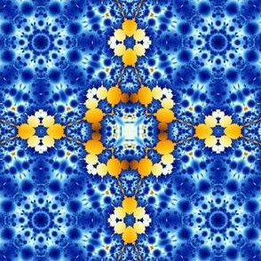 fractal snowflake in blue and yellow