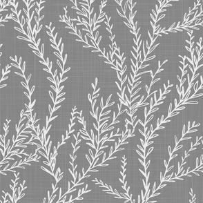 Climbing Vines White and Light Gray Linen
