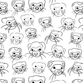 Ferret Faces Line Art Sketch White