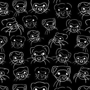 Ferret Faces Line Art Sketch Black