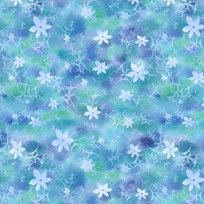 Ditsy floral batik in blues and greens
