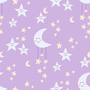 Moon and stars lilac