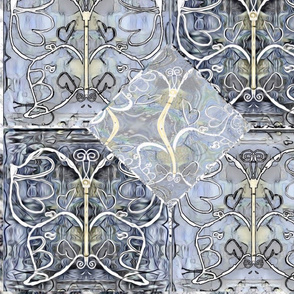 Silver ^ Pewter Etched Butterfly Panel