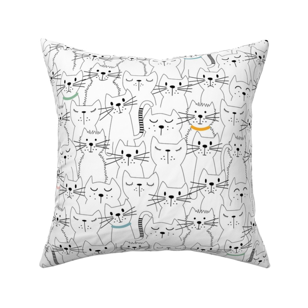 Catalan Throw Pillow featuring International Cats Day-White by twigged
