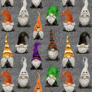 Halloween Gnomes on grey linen - medium scale