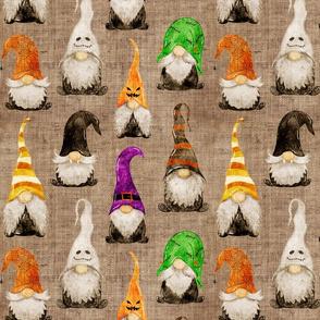 Halloween Gnomes on burlap - medium scale