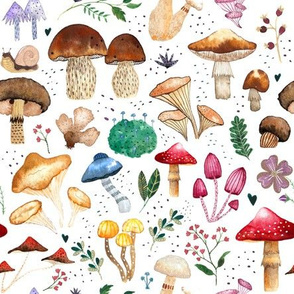 Forest mushroom watercolour painting