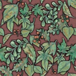 Herbstblaettermuster rotbraun