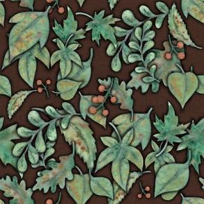 Herbstblaettermuster dunkelbraun