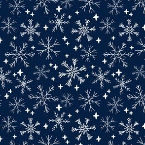 SMALL winter snowflakes // navy blue dark blue snowflake pattern snowflake fabric cute snowflakes best xmas holiday christmas design andrea lauren fabric