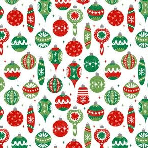 SMALL - vintage ornaments fabric // andrea lauren fabric, vintage fabric, vintage christmas fabric, ornaments fabric, holiday design - red and green