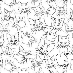 Cats Line Art Sketch White