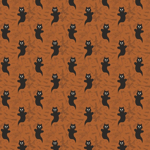 SMALL - Ghost Cats - black and orange