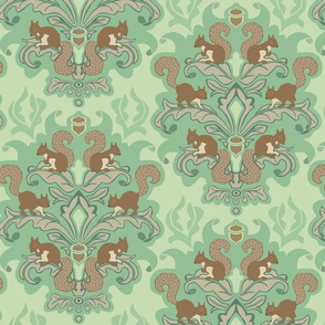 Squirrel Damask - Sping palette large scale