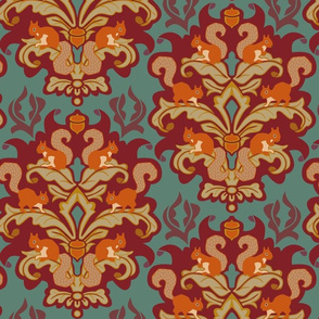 Squirrel Damask - Autumn palette large scale