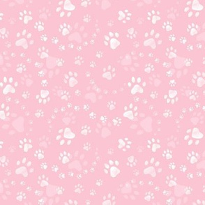 Paw prints rose pink - tiny scale