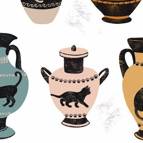 Ancient Greek Cat Pottery on White -Large by Heather Anderson