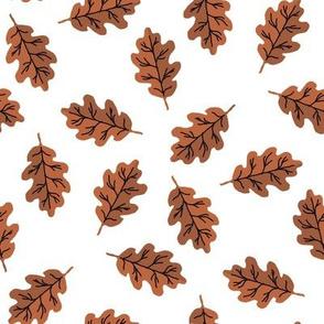 oak leaf fabric - autumn leaves fabric -brown