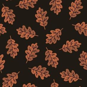oak leaf fabric - autumn leaves fabric - black and brown