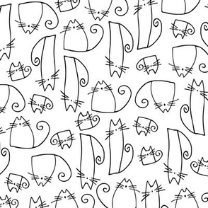 cats - tinkle cat black and white - hand-drawn cats