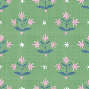 Thistle Stars Navy_ Green and Pink