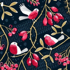 Winter Berries and Birds 1/3