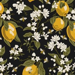 Bees & Lemons - Black (K90) - Large