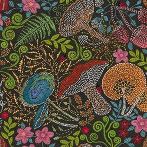 Embroidered Wild Mushrooms