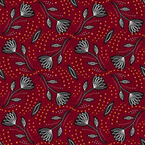 Red orange-linocut florals