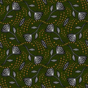 Olive linocut florals