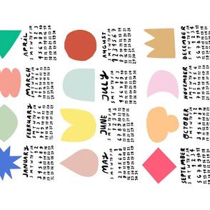 Simple Shapes 2021 Calendar Fat Quarter Tea Towel