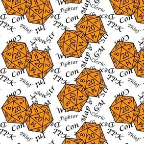 Cheddar Orange d20 Dice with Med Scale Gamer Terms White BG by Shari Lynn's Stitches