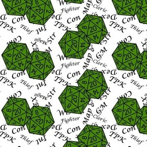 Poison Green d20 Dice with Med Scale Gamer Terms White BG by Shari Lynn's Stitches